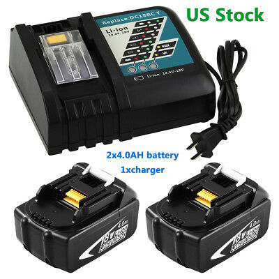2X4000mAH Replace for Makita 18v Battery+1xBattery Charger for Makita DC18RC