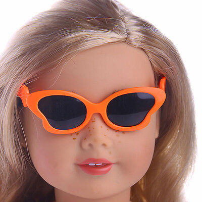 Cute Handmade Butterfly glasses  For 18inch American Girl Doll Party Orange.