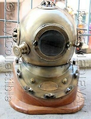 Collectible Nautical Us Navy Divers Diving Helmet Iron & Aluminum W/wooden Base