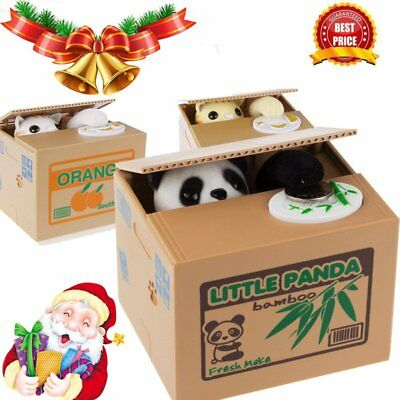 Panda Stealing Coin Money Cat Penny Cents Piggy Bank Saving Box Kids Gift Newest