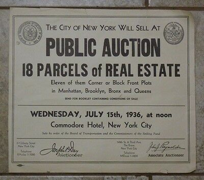 Old 1936 NEW YORK CITY PUBLIC REAL ESTATE AUCTION Advertising Print
