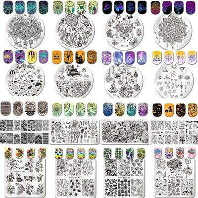 BORN PRETTY Nail Art Stamping Plates Round Square Image Stamp Template