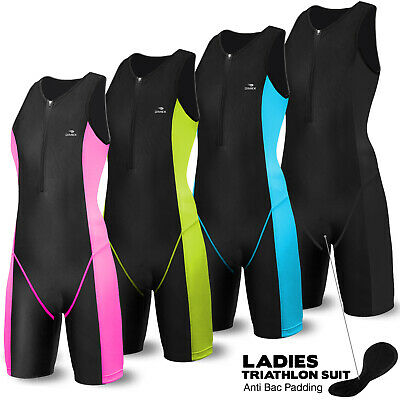 Ladies Triathlon Suit Cycling Running Compression Tri Suit CoolMax Padding Dimex
