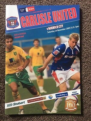 Carlisle United v Norwich City FA Cup 2009-2010 football programme