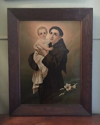 Large Antique Picture Print On Tin St Anthony Of Padua Oak Frame