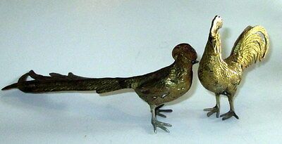 Antique French Brass Pair Rooster Hen Chicken Figures Detailed Unique Vintage