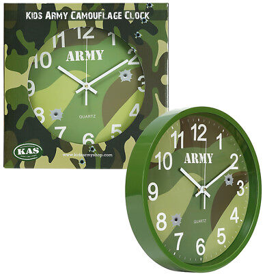 KAS Boys Kids Army Camouflage Camo Combat Wall Clock DPM Woodland Bedroom Office