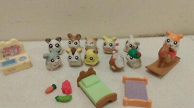 hamtaro hamster toy animal pencil topper action figures lot of 12 accessories