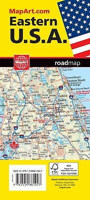 Eastern USA Road Map  - 1192 - MapArt- Brand New! United States New York