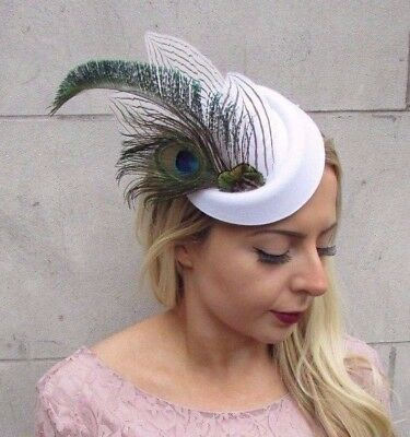 White Green Peacock Feather Pillbox Hat Hair Fascinator Races Clip Vintage 4404