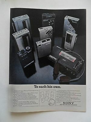 1982 Print Ad Sony Walkman Microcassette Player ~ To Each His Own