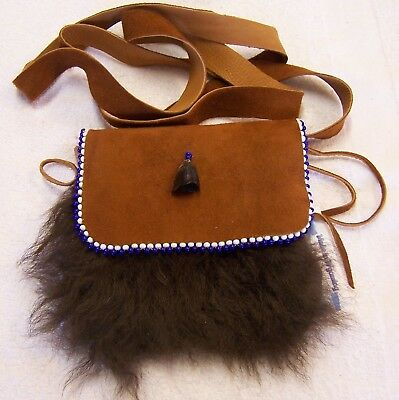 Hand Made  Beaded Buffalo Fur Pouch Rendezvous Black Powder Mountain Man 2