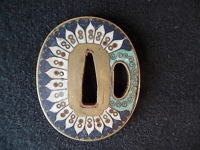 Antique Japanese Cloisonne Tsuba - Geometric Pattern On Brass