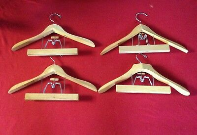 REDUCED!!  Vintage Wooden Hangers Lot of 4 Heavy Suit Jacket with Pants clamp
