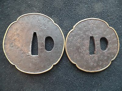 Antique Japanese Dai/Sho Tsuba Set - Hot Stamp Flowers