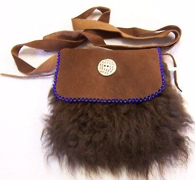 Hand Made  Beaded Buffalo Fur Pouch Rendezvous Black Powder Mountain Man 4