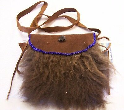 Hand Made  Beaded Buffalo Fur Pouch Rendezvous Black Powder Mountain Man 6
