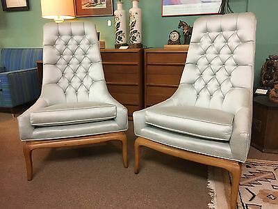 Pair of Mid Century Tufted Highback Lounge Chairs w/Blonde Wood Framing c1960s