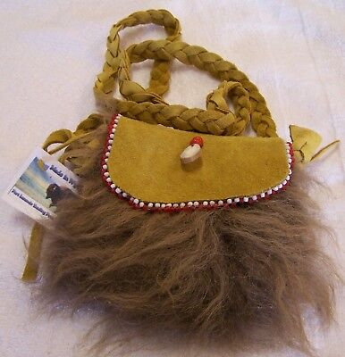 Hand Made Beaded Buffalo Fur Pouch Rendezvous Black Powder Mountain Man 12