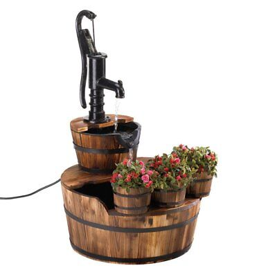 Garden Fountain, Barrel Wood Electric Vintage Water Fountain Outdoor Patio