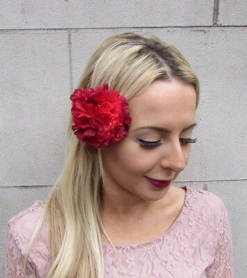 Double Red Carnation Flower Hair Clip Fascinator 1950s Floral Rose 1940s 4418