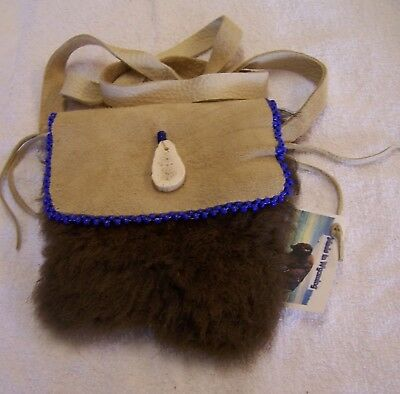 Hand Made Beaded Buffalo Fur Pouch Rendezvous Black Powder Mountain Man 15