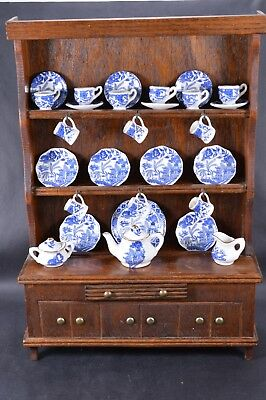 Vintage Limited Edition Miniature Dresser Carmarthen Bone China Blue Willow Set