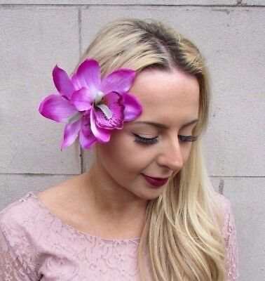 Double Purple Lilac Orchid Flower Hair Clip Rockabilly 1950s Fascinator Vtg 3400