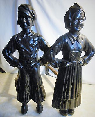 Old  Heavy  18  Pounds  Cast  Iron  Dutch  Boy  And  Girl Fire Place Andirons