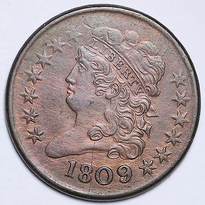1809 9/9 Classic Head Half Cent Penny CHOICE AU FREE SHIPPING E109 CTX
