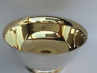 """GORHAM SILVER PLATED PAUL REVERE BOWL 4.5"""" DIAM  Gold plated inside bowl YC795"""