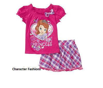 SOFIA THE FIRST 24 Mo 3T 4T 5T Girls SKIRT SHIRT TOP Outfit Set DISNEY PRINCESS