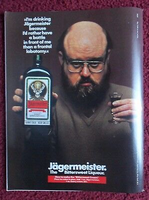 1982 Print Ad JAGERMEISTER Bittersweet Liqueur ~ Rather Than a Frontal Lobotomy