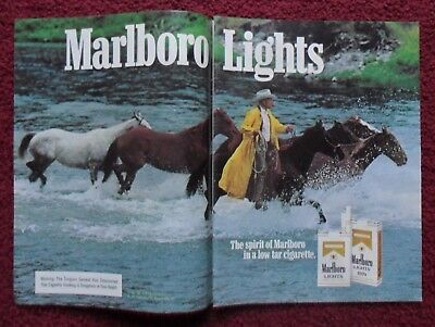 1982 Print Ad Marlboro Man Cigarettes ~ Western Cowboys Leading Horses in River