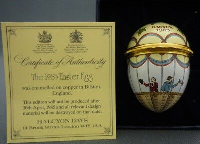 HALCYON DAYS ENAMELS England 1985 Easter Egg Hinged Trinket Box Hot Air Balloon