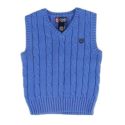 Chap's Toddler 18 Months Blue V-Neck Knit Sweater Vest Cable Knit Shirt NEW $40