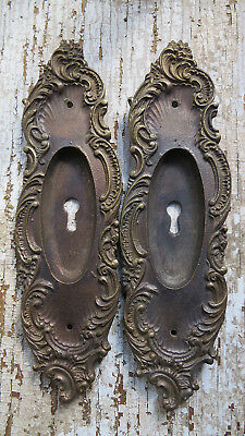 PAIR of Cast BRONZE Ornate FRENCH Pocket Door Pulls Handles w Keyhole