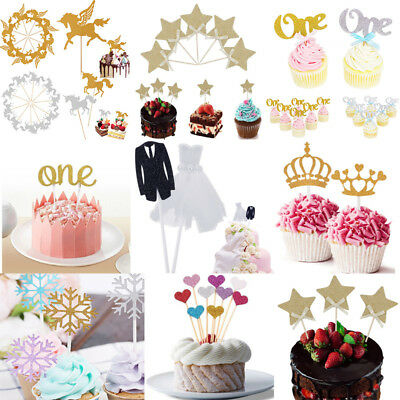 20 Christmas Star Crown Cupcake Toppers Baby Birthday  Wedding Party Cake Decor