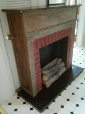 HANDMADE Mounted RED BULB LIGHTED wood LOG fireplace mantle