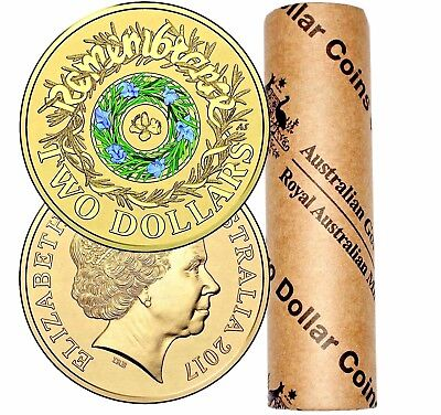 RAM OFFICIAL ROLL - REMEMBRANCE DAY – 25 x 2017 $2 COLOURED CIRCULATING COIN UNC