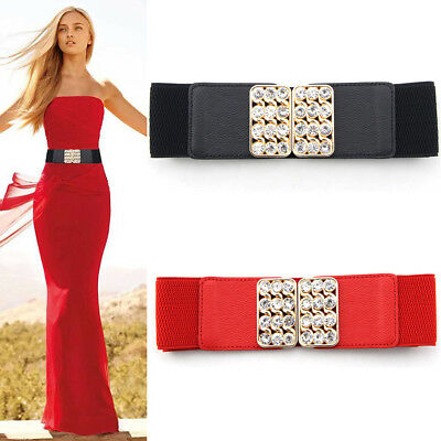 Lady Women Stretch Elastic Waist Belt Wide Waistband Diamond Buckle Rhinestone