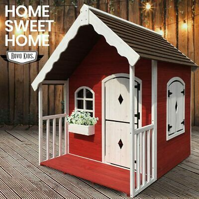 NEW ROVO KIDS Cubby House Wooden Cottage Outdoor Playhouse Verandah Children Toy
