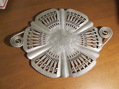 Farber Shlevin Hand Wrought Aluminum Tray With Handles Poinsettia Flowers