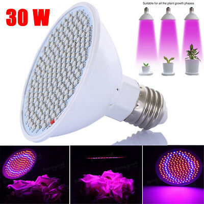 Brand New E27 200-LED Grow Light Lamp Veg Flower Hydroponic Plant Full Spectrum