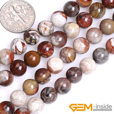 """Natural Mexico Crazy Lace Agate Gemstone Round Beads For Jewelry Making 15"""" YB"""
