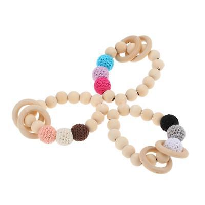Adorable Baby Pacifier Clip Wooden Teether Crochet Beads Teething Chew Toy Z9U0