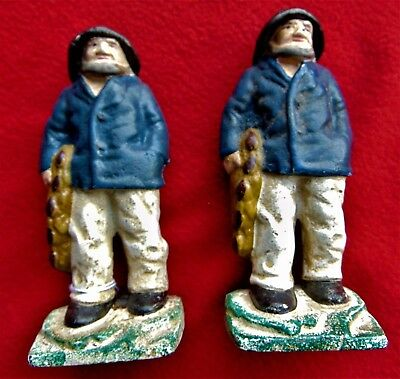 Antique Cast Iron Fisherman ~ Nautical Book Ends ~ Rare Find!