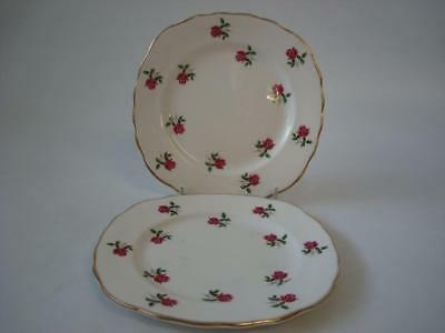Colclough Fragrance Tiny Pink Rose Bud 2 X Tea / Side Plates
