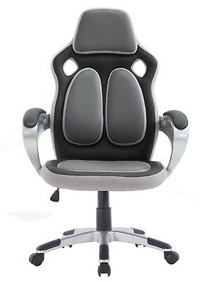 Footrest Gaming Chair Computer Office Recliner Racing Adjustable PU Leather Grey