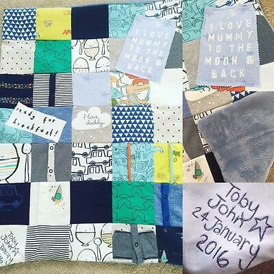 Baby Clothes Quilt Blanket Memory Keepsake Personalised Boy Girl COT BED SIZE